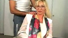 blonde milf with glasses likes cock 2