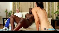 Mom makes son watch her get fucked by big black cock 318
